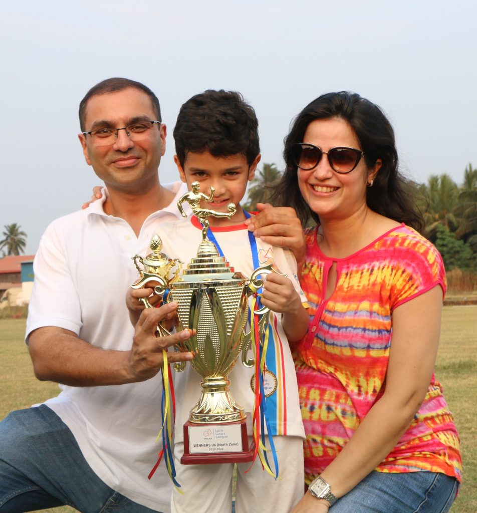 Future star of football Vivaan with the winners trophy